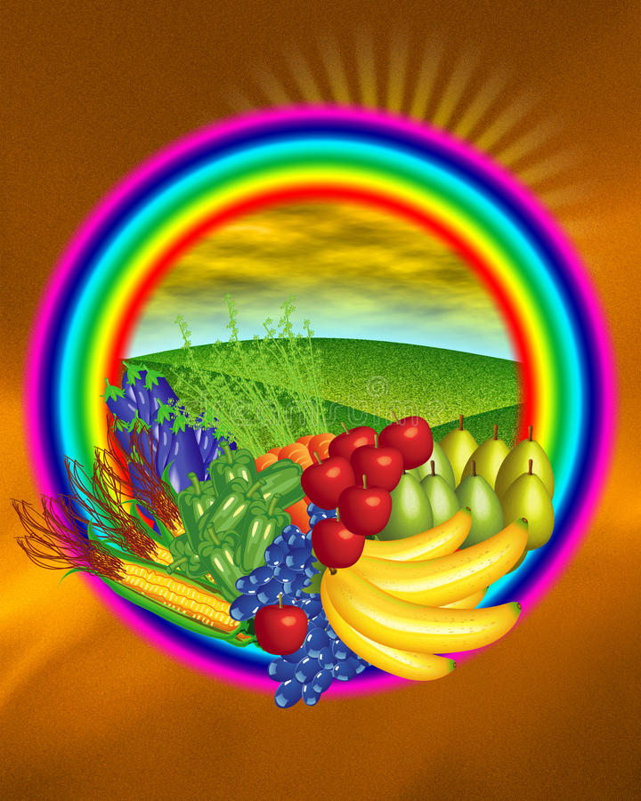 Obst- und Gemüse Aufkleber lizenzfreie abbildung