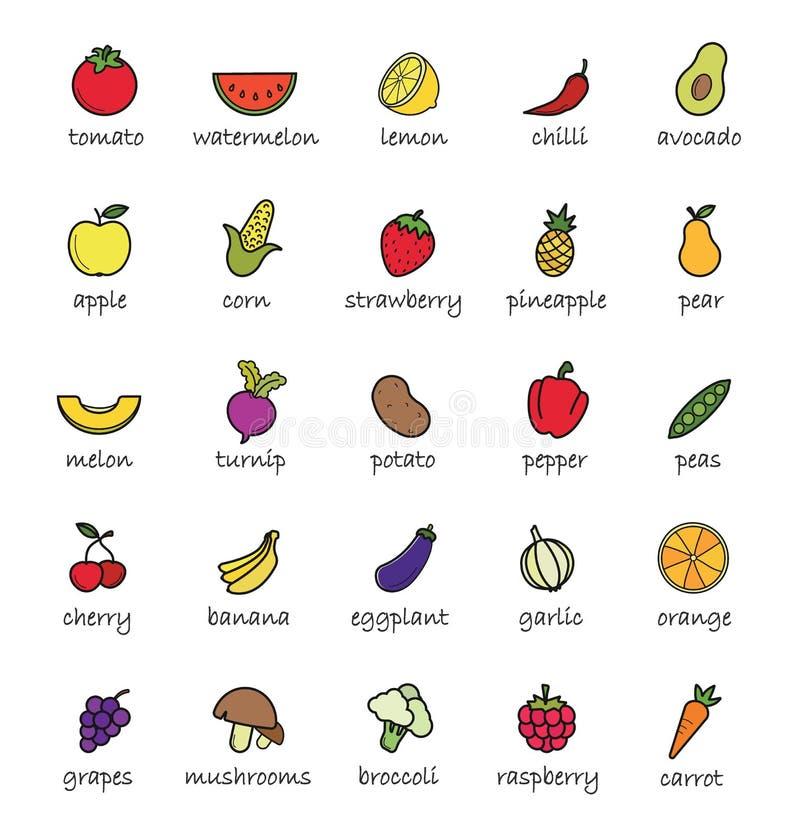 Obst- und Gemüse Farbikonen lizenzfreie abbildung