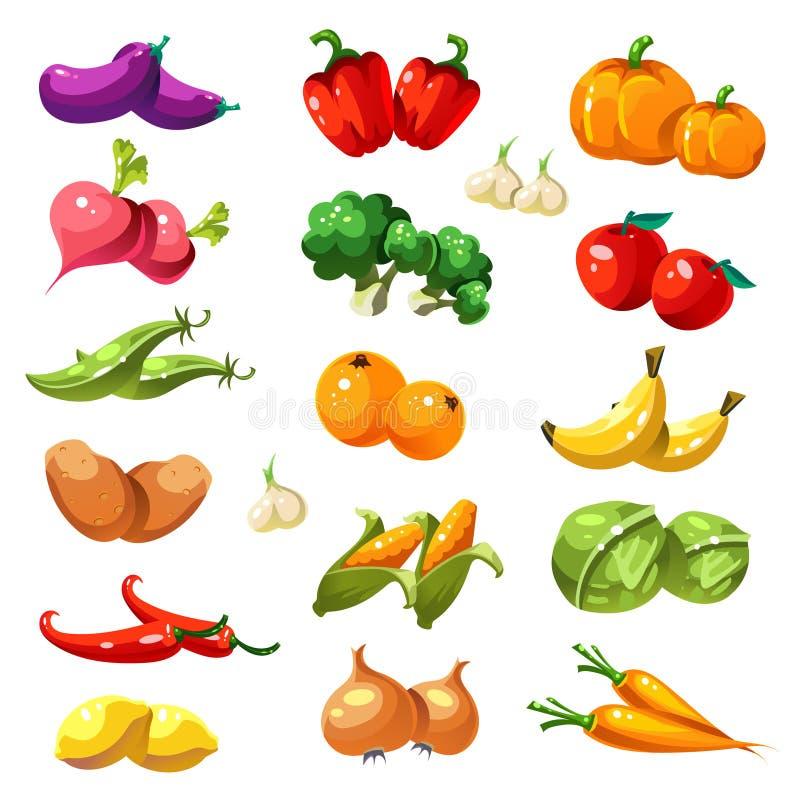 Obst und Gemüse Ikonen-Vektor des biologischen Lebensmittels vektor abbildung
