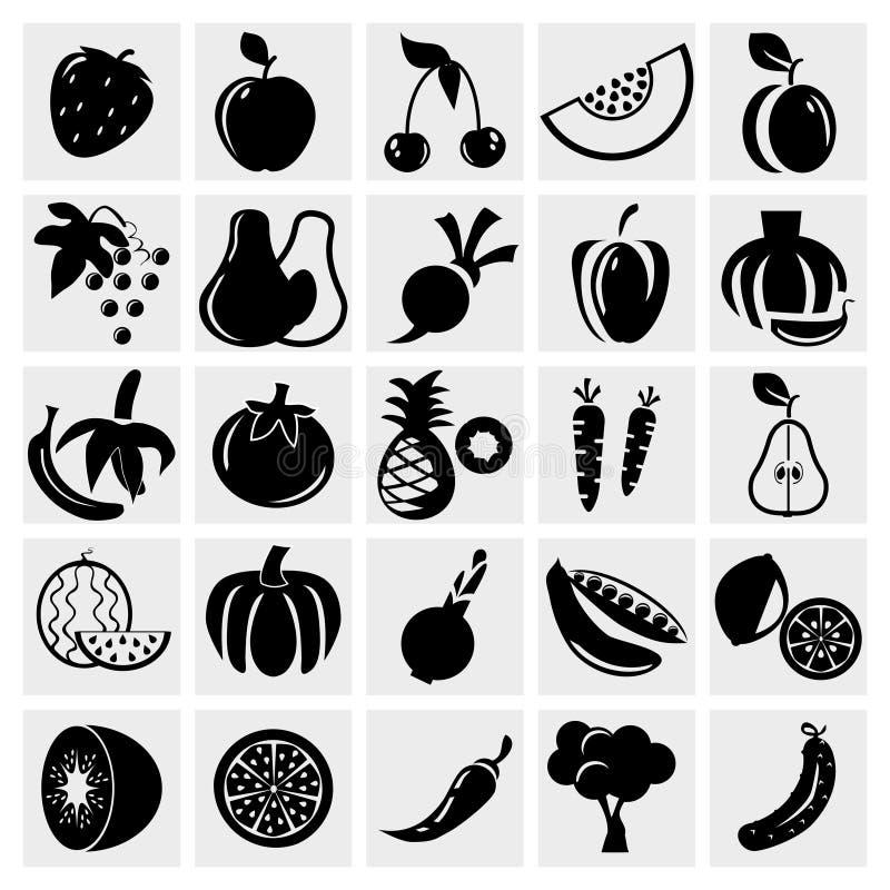 Obst- und Gemüse Ikonenset stock abbildung