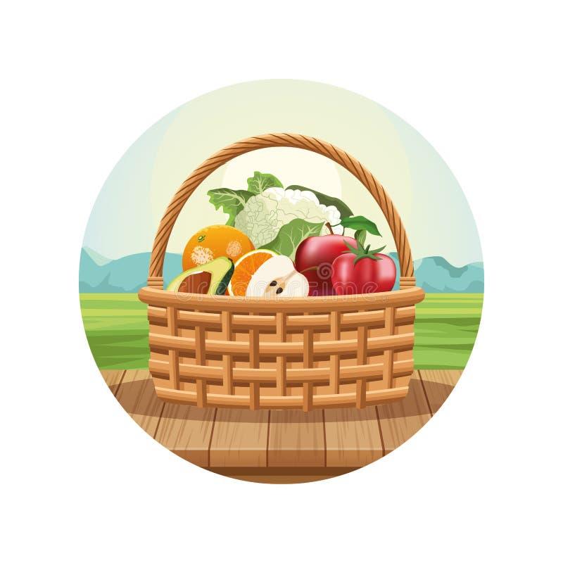 Obst und Gemüse im Korb vektor abbildung