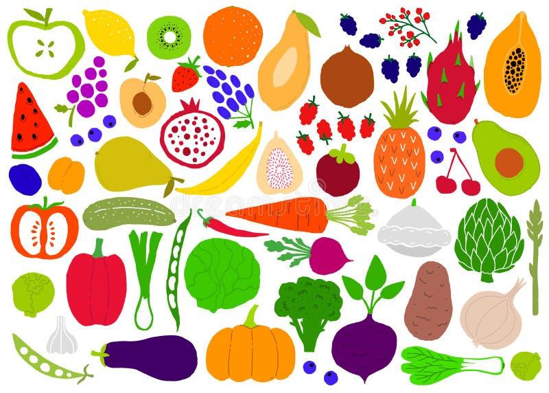 Obst und Gemüse naive einfache große gesetzte Schattenbilder Getrennte Nachrichten auf wei?em Hintergrund Obst und Gem?se Logo od lizenzfreie abbildung