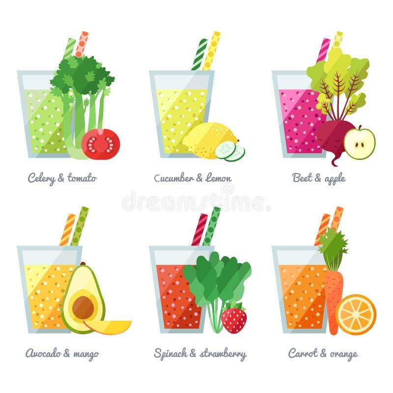 Obst und Gemüse Smoothie (Saft) vector Konzept Menüelement für Café oder Restaurant Gesundes Getränk lizenzfreie abbildung