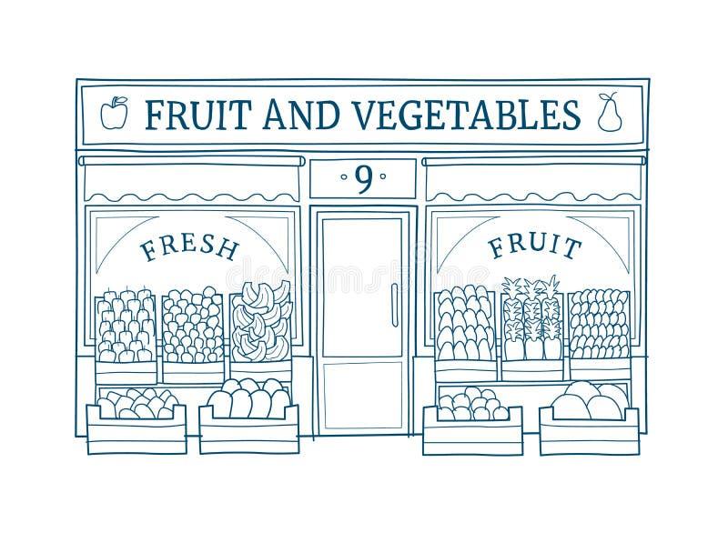 Obst und Gemüse speichern gezeichnete Vektorillustration der Fassade Hand lizenzfreie abbildung