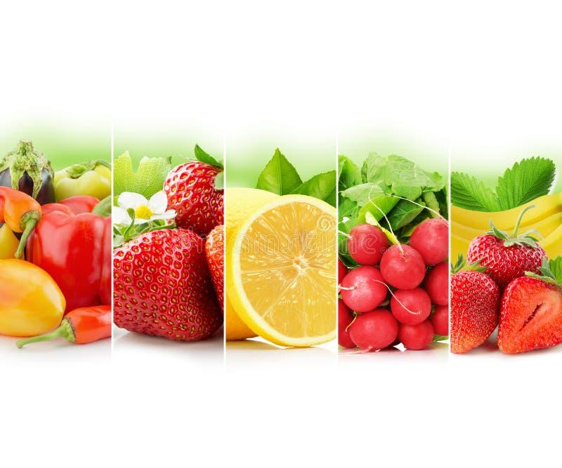 Obst und Gemüse streifen Sammlung auf weißem Hintergrund lizenzfreies stockfoto