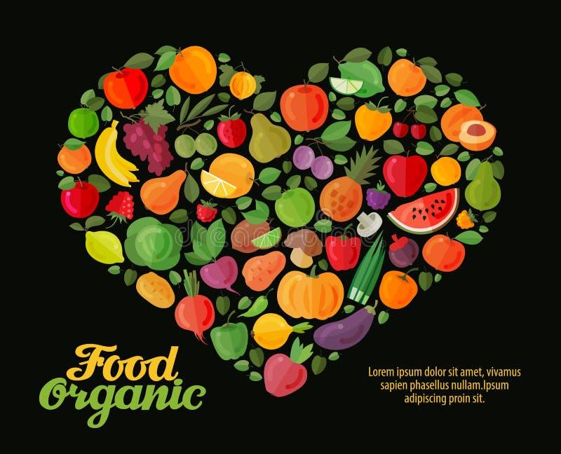 Obst- und Gemüse Vektorherz Gesundes Lebensmitteldesign lizenzfreie abbildung