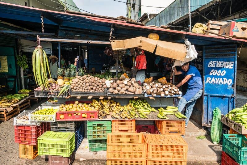 Obst- und Gemüse Verkäufer auf Lebensmittelmarkt auf Straße Avenida CEN stockfotografie