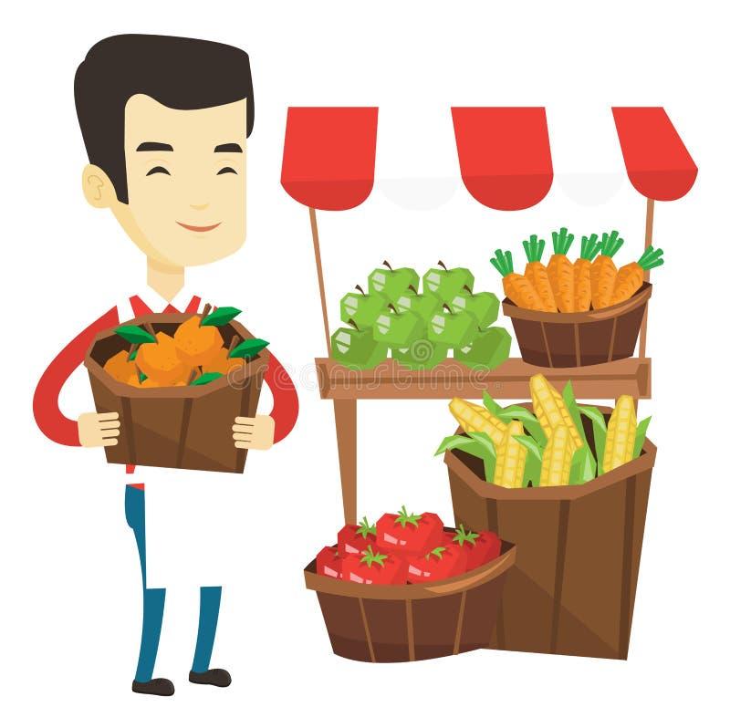 Obst-und Gemüsehändler mit Obst und Gemüse lizenzfreie abbildung