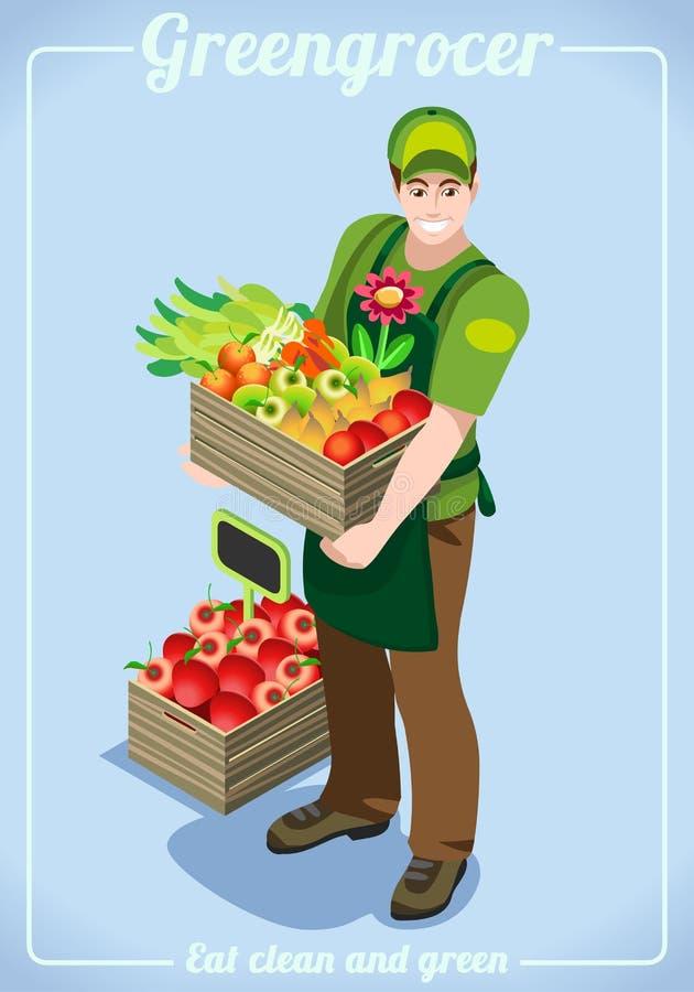 Obst-und Gemüsehändler Services People Isometric lizenzfreie abbildung