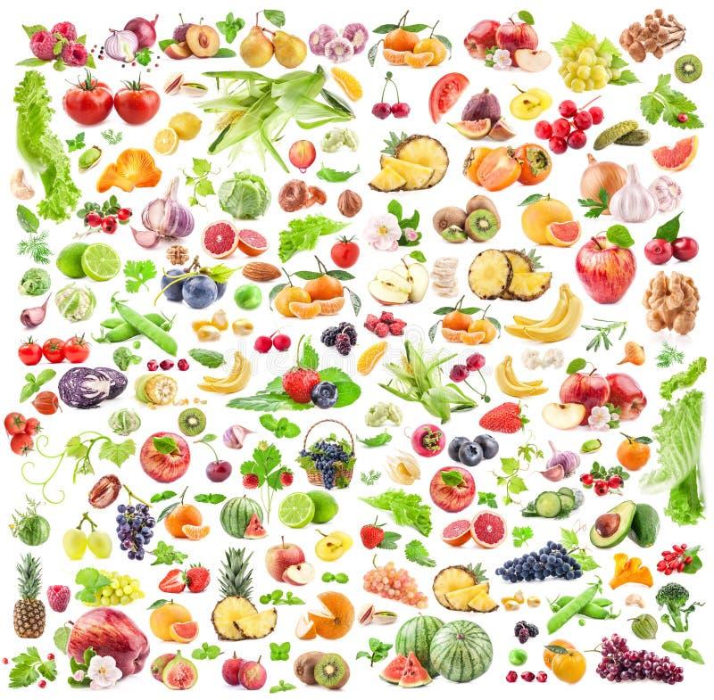 Obst- und GemüseHintergrund Große Sammlung Obst und Gemüse lokalisiert auf weißem Hintergrund lizenzfreie stockfotografie