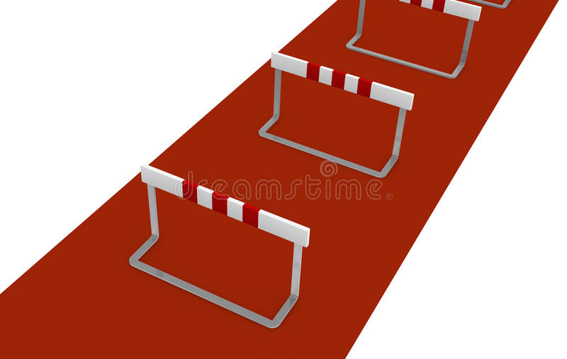 Obstacle. Some obstacles, concept of difficulty or problem (3d render royalty free illustration