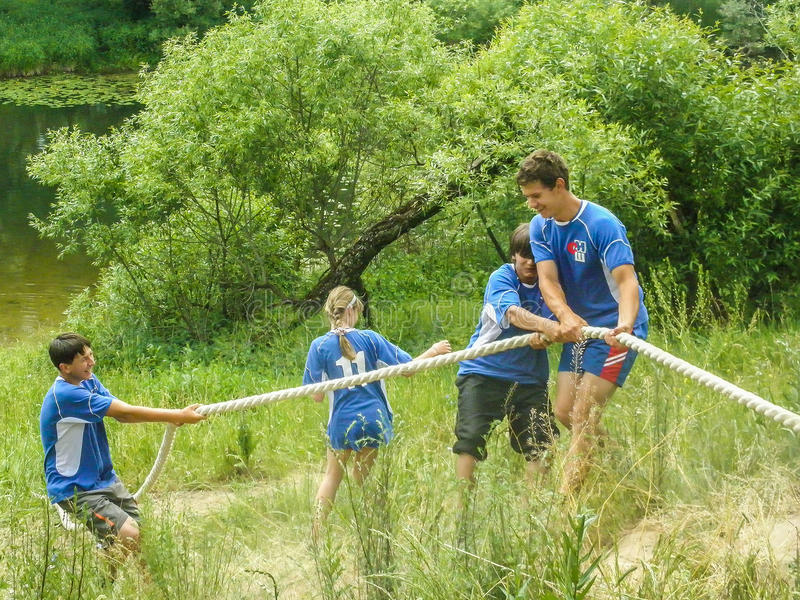 The obstacle course at a tourism Convention in the Kaluga region of Russia. In Russia there is an annual tradition for sports tourism events for students. They stock photo