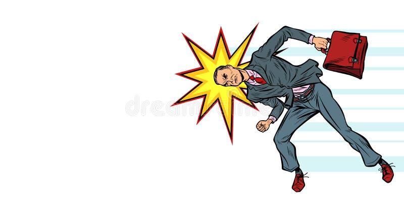 Obstacle principal de enfoncement d'homme d'affaires illustration de vecteur