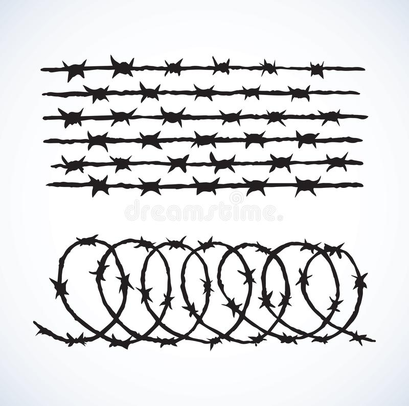 Barbed Wire. Vector Drawing Stock Vector - Illustration of protect ...