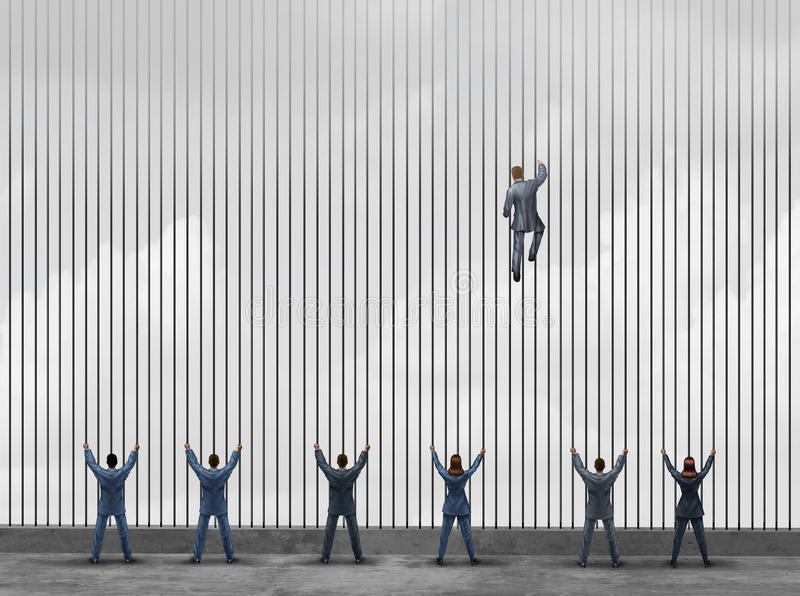 Obstacle To Opportunity. Concept as a group of people as businessmen and businesswomen locked behind prison bars with one individual smart business leader using royalty free illustration