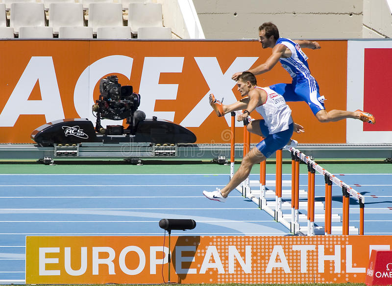 Obstacles d'athlétisme image stock