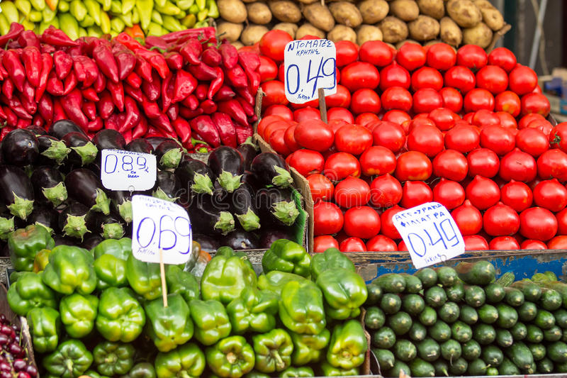 Obstmarkt in Athen, Griechenland stockbilder