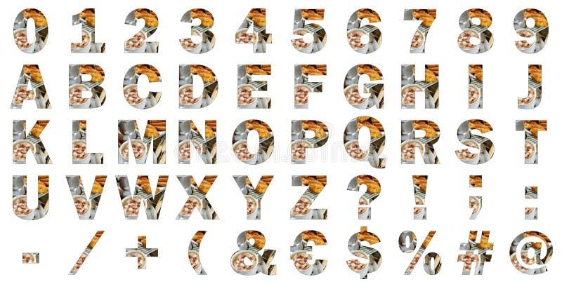 Obstrua letras internacionais do alfabeto, números, caráteres especiais e sinais imagens de stock royalty free