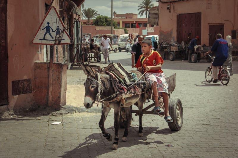 2008 obszarów Barcelona barri może gottic sceny Hiszpanii street fura z osłem marrakesh Maroko zdjęcie stock