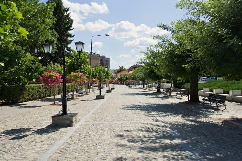 Obszar pieszy w Vranje, Serbia fotografia stock