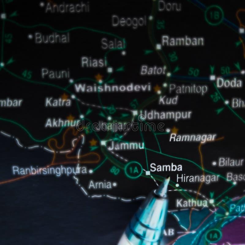 obszar samba wyświetlający na mapie cyfrowej wzór w Indiach fotografia stock