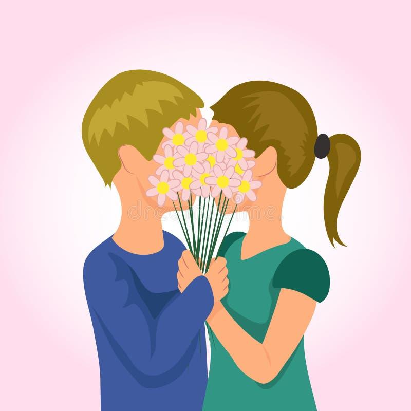 obszyty dzień serc ilustraci s dwa valentine wektor par młodych royalty ilustracja