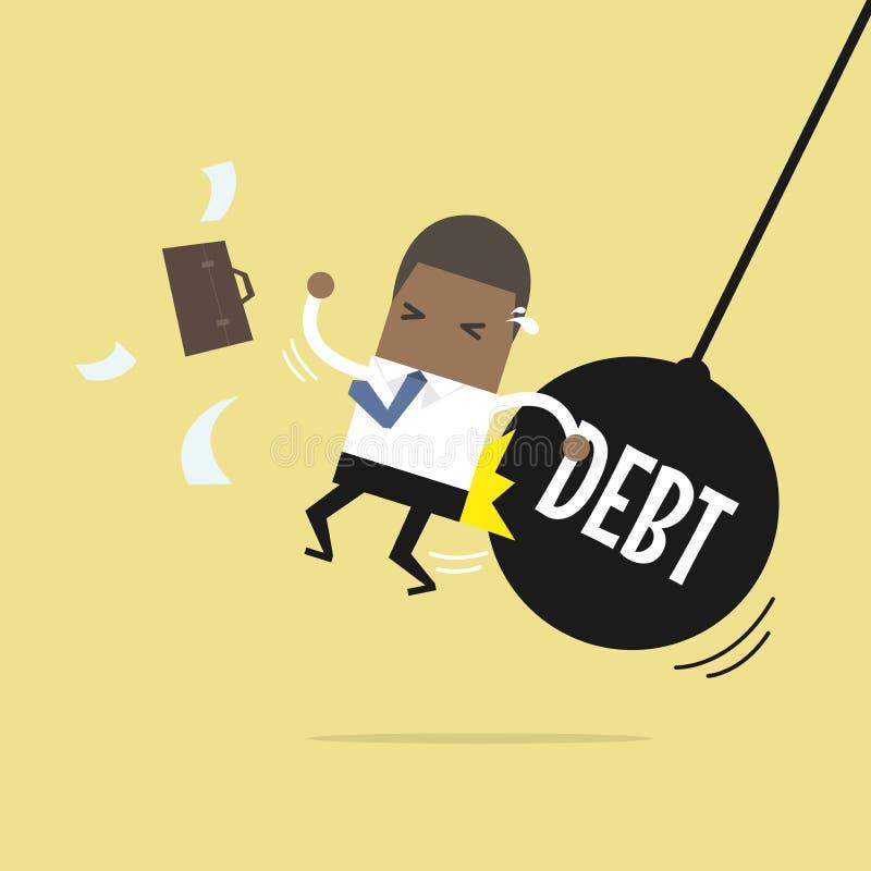 A obtenção africana do homem de negócios empurrou pelo pêndulo enorme com débito da mensagem ilustração stock