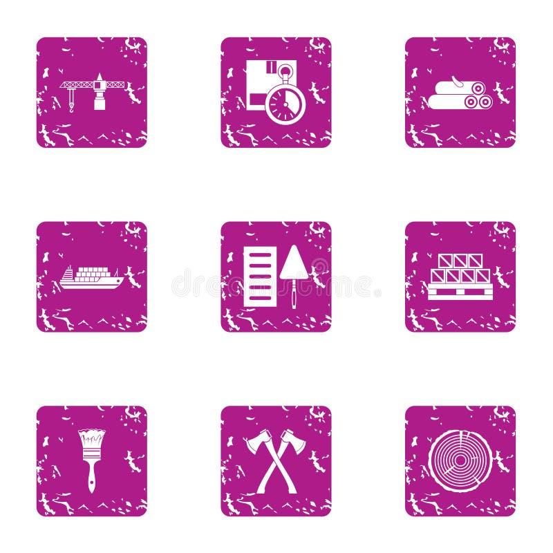 A obtenção de ícones dos materiais ajustou-se, estilo do grunge ilustração stock