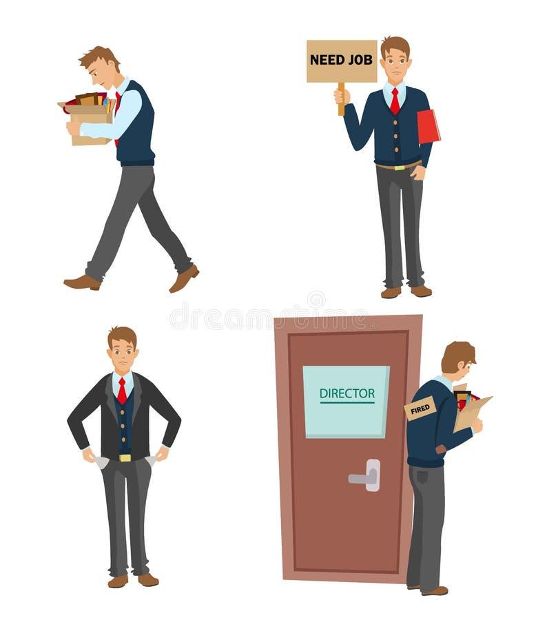 Obtendo a ilustração lisa ateada fogo do vetor homem demitido do trabalho que vai com uma caixa de pertences pessoais ilustração royalty free