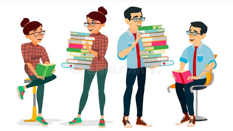Obtendo o vetor do conceito do conhecimento enciclopédia Homem e mulher no clube de leitura Biblioteca, acadêmico, escola, univer ilustração royalty free