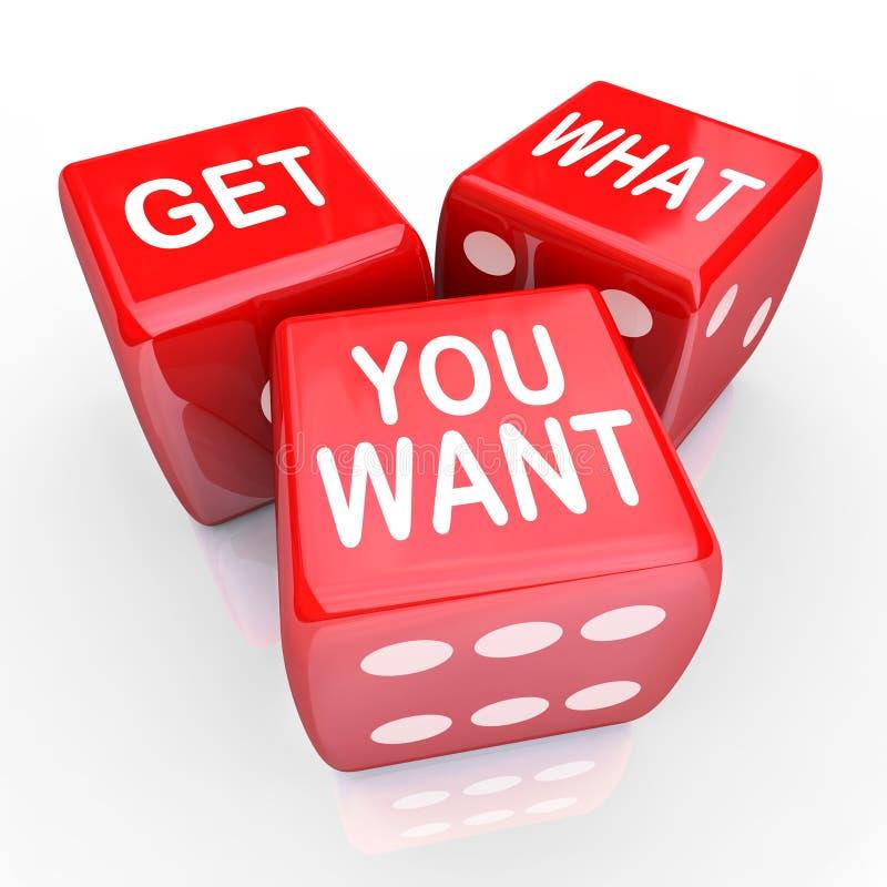 Obtenez ce qui vous voulez des matrices Bet Gamble Risk illustration libre de droits