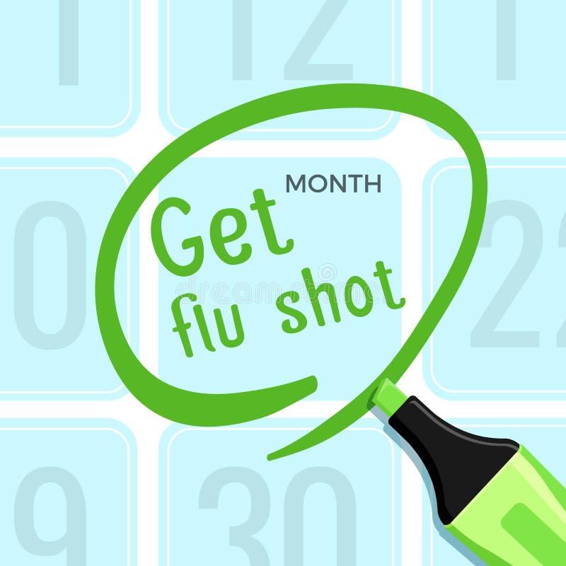Obtenez l'affiche de vaccin contre la grippe avec l'illustration de vecteur de titre de titre illustration stock