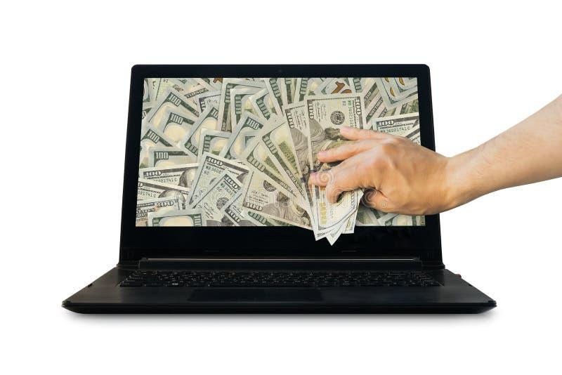 Obtenez l'argent des affaires en ligne jugeant le dollar US disponible images libres de droits