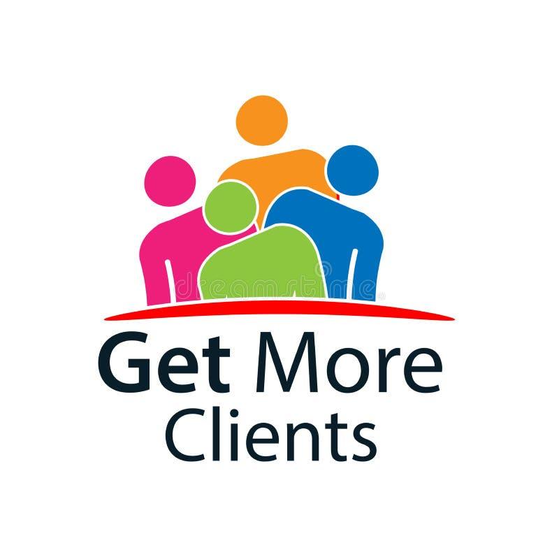 Obtenez plus de clients avec le signe de personnes Illustration plate de vecteur sur le fond blanc illustration stock
