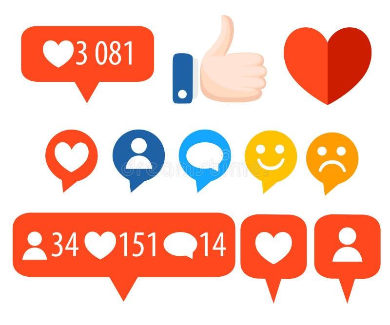 Obtenez plus de goûts Icônes de couleur Concept de SEO Ensemble de graphismes Éléments de conception pour le réseau social, vente illustration stock