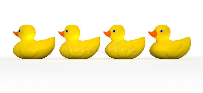 Obtenez tous vos canards en caoutchouc dans une ligne illustration libre de droits