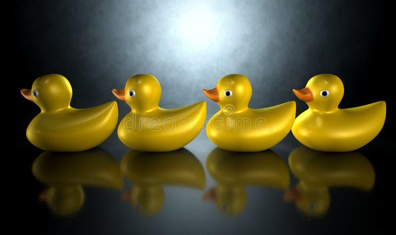 Obtenez vos canards dans une ligne illustration stock