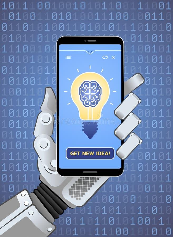 Obtenha a ideia nova pela inteligência artificial ilustração do vetor