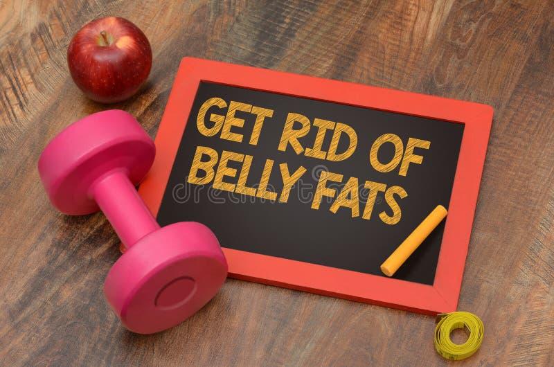 Obtenha livrado do conceito da aptidão das gorduras da barriga com peso e maçã imagens de stock