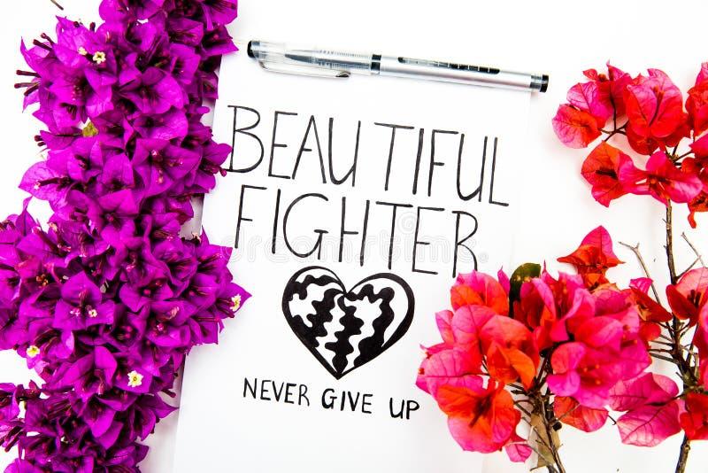 Obtenha melhor logo o cartão com o lutador bonito das palavras com pena e as flores roxas selvagens Não dê acima o cartão inspira imagens de stock royalty free