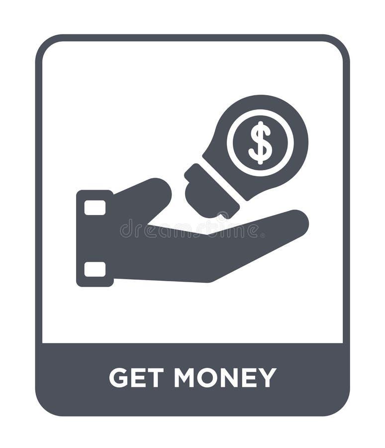 obtenha o ícone do dinheiro no estilo na moda do projeto Obtenha o ícone do dinheiro isolado no fundo branco fique o ícone do vet ilustração stock