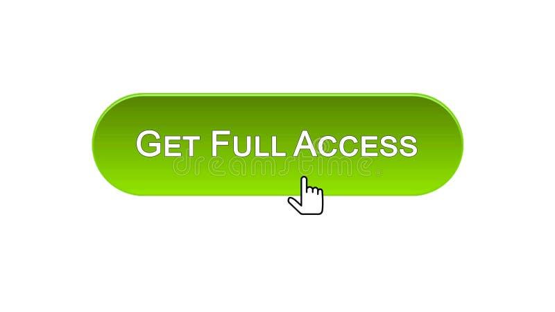 Obtenha o botão da relação da Web do acesso total clicado com cursor do rato, cor verde ilustração royalty free