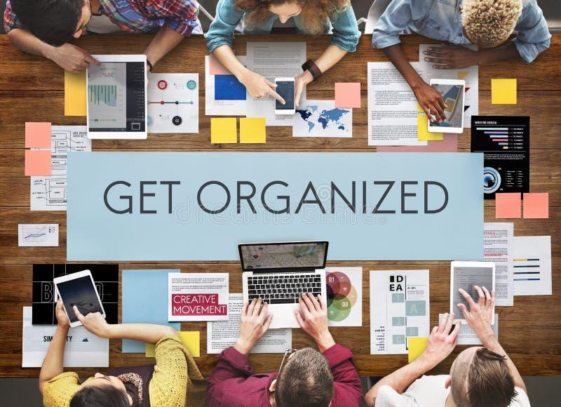 Obtenha o conceito organizado do planeamento da gestão fotografia de stock