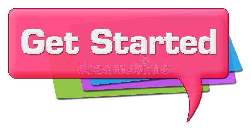 Obtenha o símbolo colorido cor-de-rosa começado do comentário ilustração royalty free