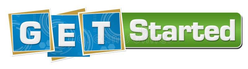 Obtenha a quadrados azuis começados da tecnologia a barra verde ilustração stock