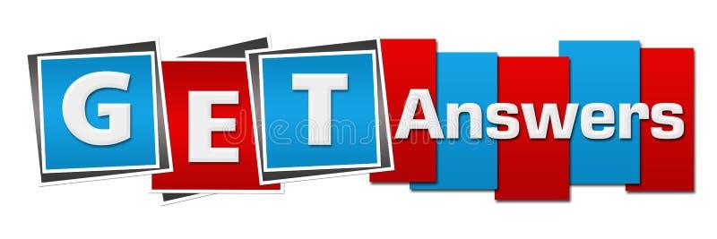 Obtenha respostas listras azuis vermelhas dos quadrados horizontais ilustração stock