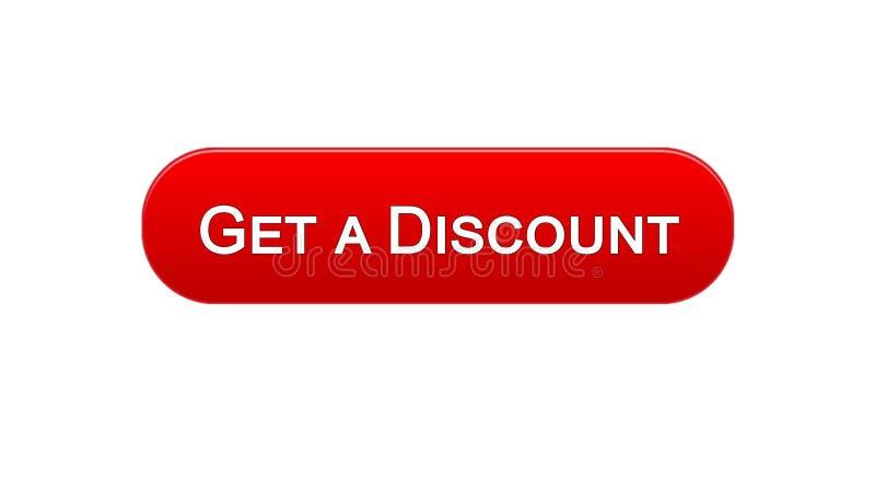Obtenha a um botão da relação da Web do disconto a cor vermelha, aplicação em linha da compra ilustração stock