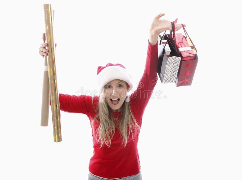 Obtention des choses pour Noël images stock