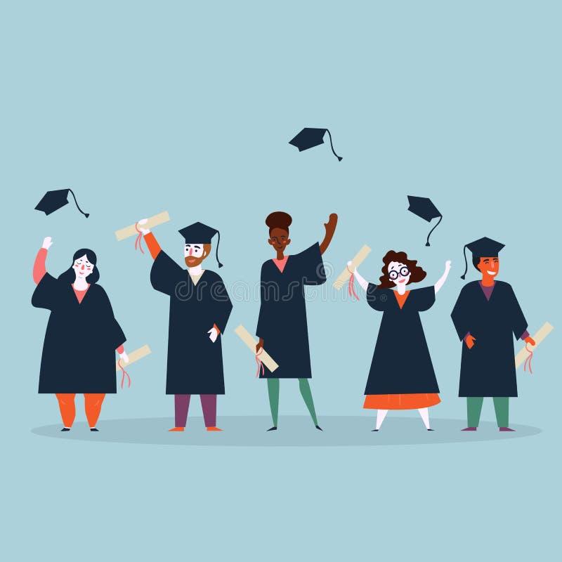 Obtention du diplôme d'étudiant Homme et femme dans les manteaux illustration libre de droits