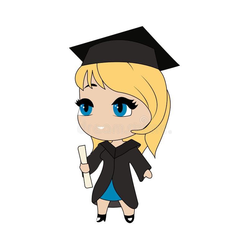 Obtention du diplôme mignonne de fille de chibi illustration de vecteur
